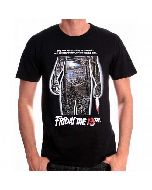 OFFICIAL FRIDAY THE 13th JASON MOVIE POSTER BLACK T-SHIRT