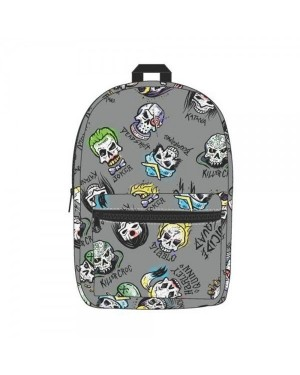 OFFICIAL SUICIDE SQUAD CHARACTER ICONS GREY BACKPACK