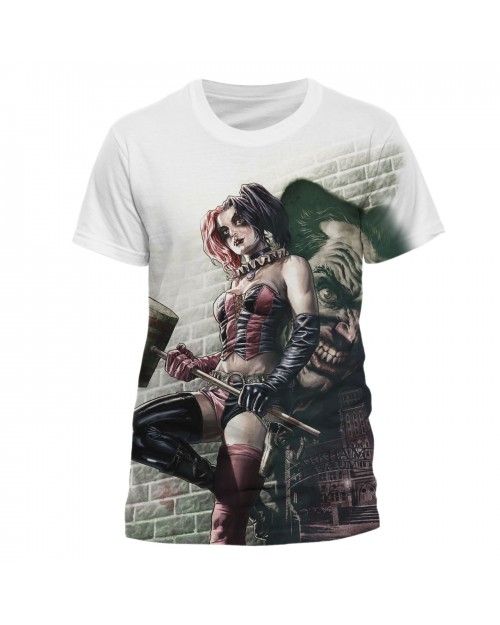 OFFICIAL DC COMICS ARKHAM ASYLUM HARLEY QUINN & THE JOKER WHITE T-SHIRT