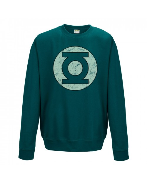 OFFICIAL DC COMICS GREEN LANTERN DISTRESSED SYMBOL CREWNECK SWEATER JUMPER