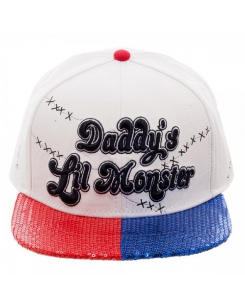 OFFICIAL SUICIDE SQUAD - DADDY'S LIL MONSTER SNAPBACK CAP WITH COLOURED SEQUIN VISOR