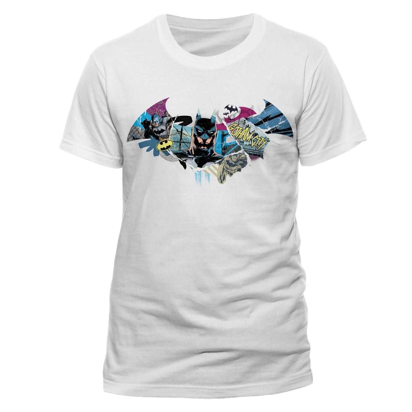 Official Dc Comics Batman Symbol Gotham City Collage White T Shirt