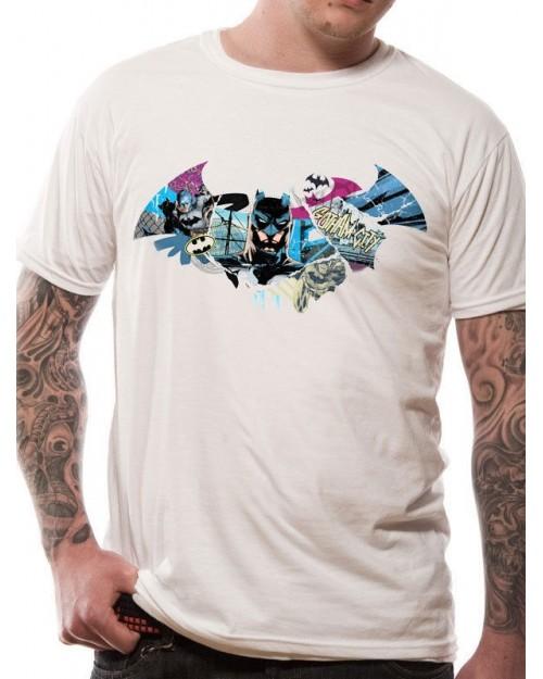OFFICIAL DC COMICS BATMAN SYMBOL GOTHAM CITY COLLAGE WHITE T-SHIRT