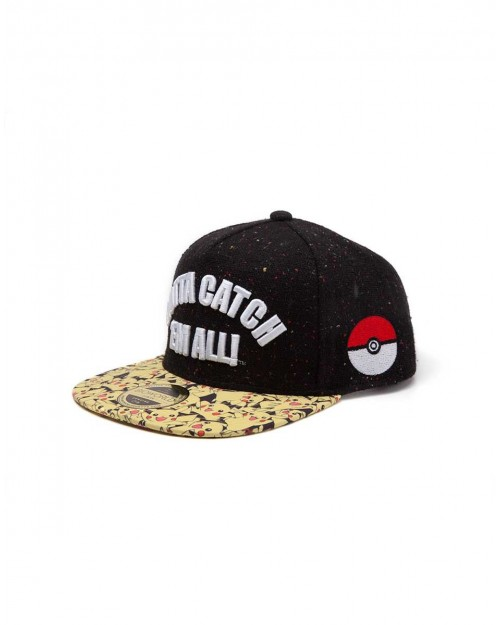 OFFICIAL POKEMON GOTTA CATCH 'EM ALL BLACK SNAPBACK CAP WITH TILED PIKACHU PRINTED VISOR