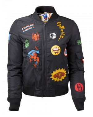 OFFICIAL MARVEL COMICS SUPER HERO PATCHES BLACK BOMBER JACKET (FEMALE)