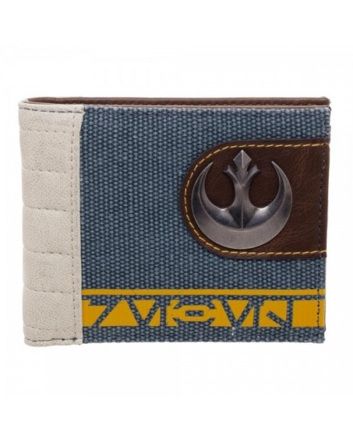 OFFICIAL STAR WARS REBEL ALLIANCE SYMBOL MIXED MATERIAL BI-FOLD WALLET