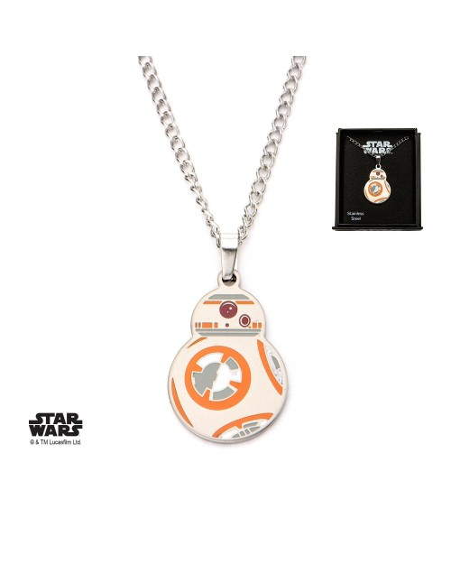 STAR WARS BB-8 DROID CUT OUT PENDANT ON CHAIN NECKLACE
