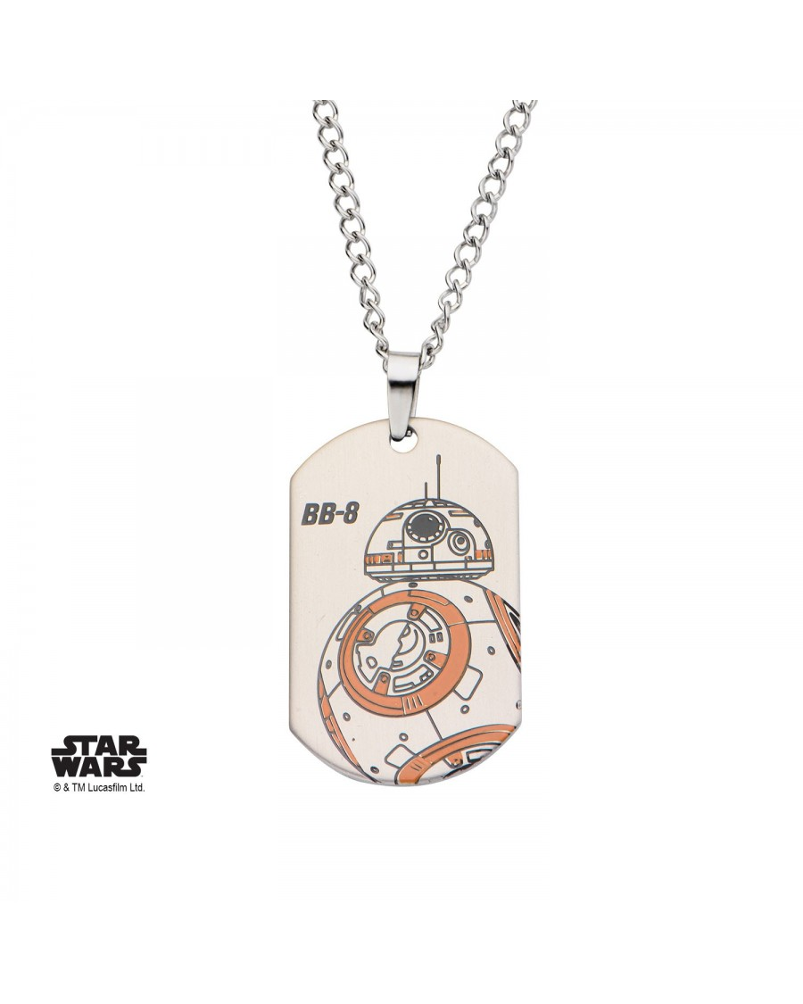 STAR WARS BB-8 DROID DOG TAG PENDANT ON CHAIN NECKLACE