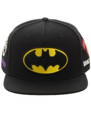 OFFICIAL DC COMICS BATMAN FRIENDS AND FOES SYMBOLS BLACK SNAPBACK CAP
