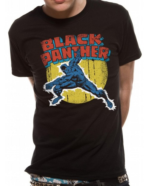 OFFICIAL MARVEL COMICS - BLACK PANTHER COMIC STYLED BLACK T-SHIRT