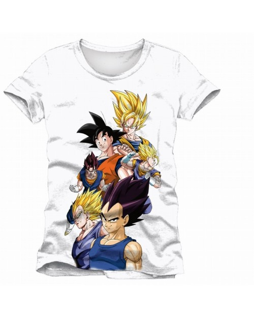 OFFICIAL DRAGON BALL Z - SAIYAN BATTLE COLLAGE WHITE T-SHIRT