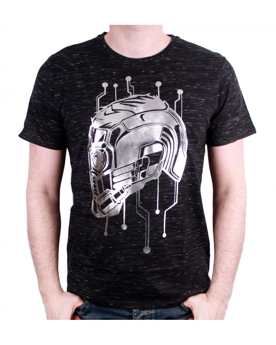 OFFICIAL MARVEL COMICS GUARDIANS OF THE GALAXY STAR-LORD HELMET BLACK T-SHIRT
