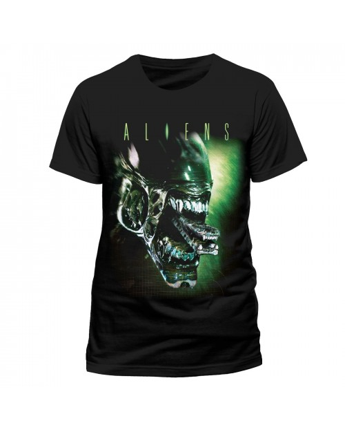 OFFICIAL ALIENS - ALIEN ATTACK GREEN PRINT BLACK T-SHIRT