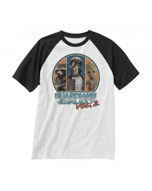 OFFICIAL GUARDIANS OF THE GALAXY VOL. 2 - RETRO STAR LORD, ROCKET & GROOT WHITE T-SHIRT
