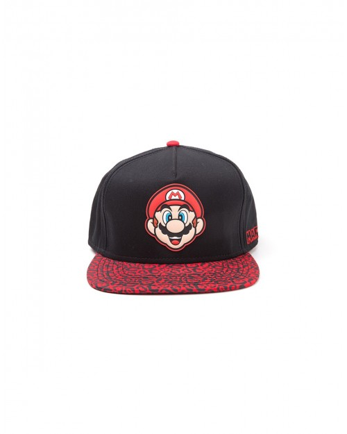 OFFICIAL NINTEDO - SUPER MARIO BRO'S MARIO RUBBER PATCH SNAPBACK CAP WITH PRINTED VISOR