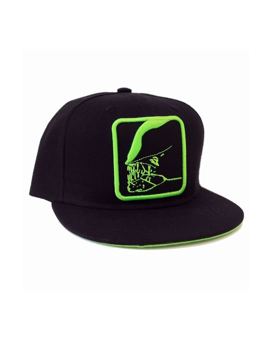 OFFICIAL ALIEN - GREEN JAW OUTLINE BLACK SNAPBACK CAP