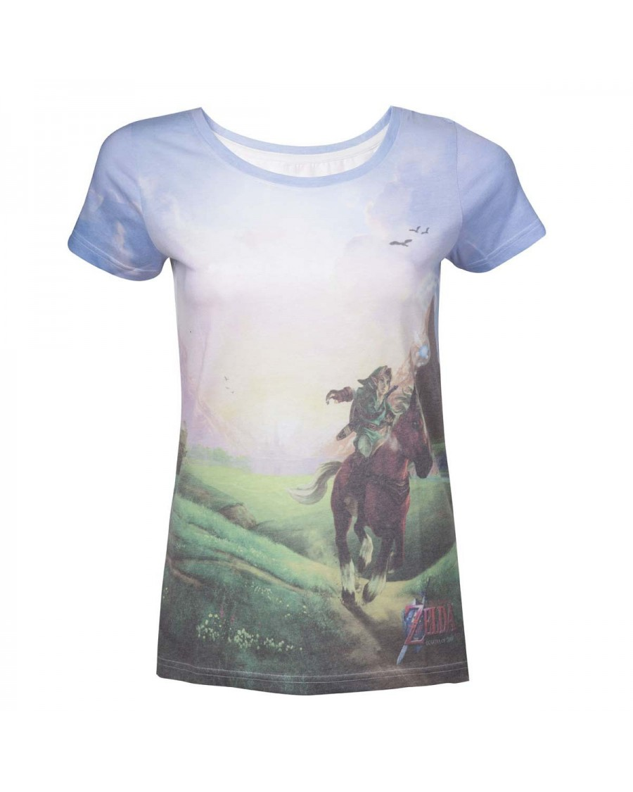 OFFICIAL THE LEGEND OF ZELDA: OCARINA OF TIME - LINK RIDING FULL FONT SUBLIMATION PRINT T-SHIRT