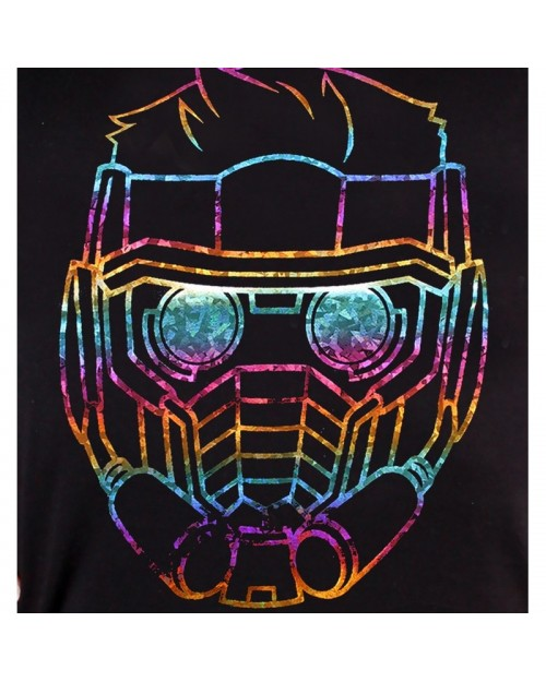 OFFICIAL GUARDIANS OF THE GALAXY VOL. 2 - STAR LORD FACE/ MASK RAINBOW FOIL PRINT FITTED T-SHIRT