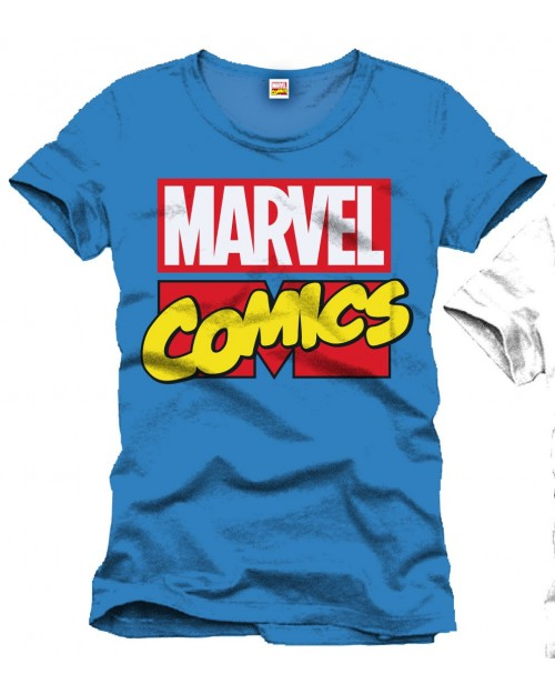 AWESOME MARVEL COMICS CLASSIC LOGO BLUE T-SHIRT