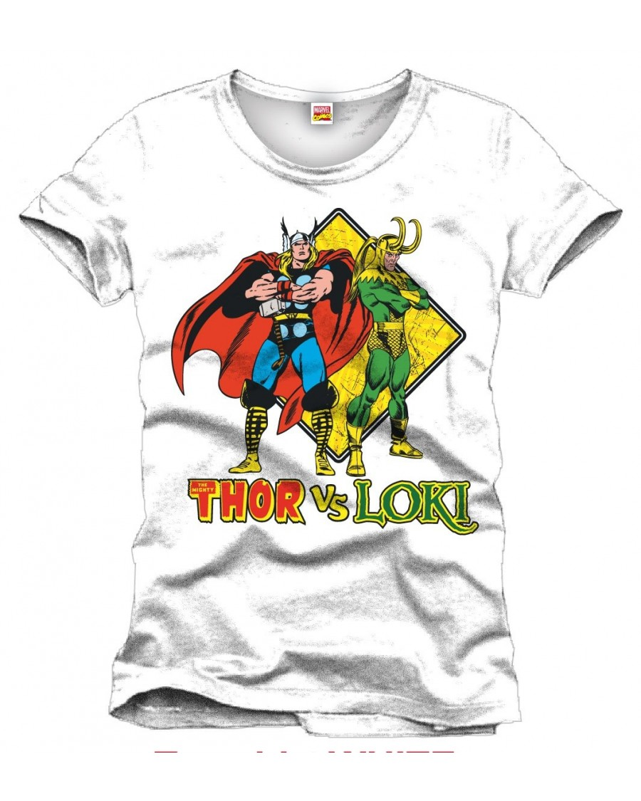 AWESOME MARVEL COMICS - THOR V LOKI WHITE T-SHIRT