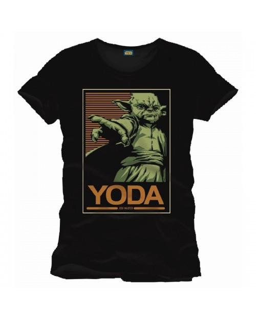 OFFICIAL STAR WARS - YODA JEDI MASTER BLOCK PRINT BLACK T-SHIRT