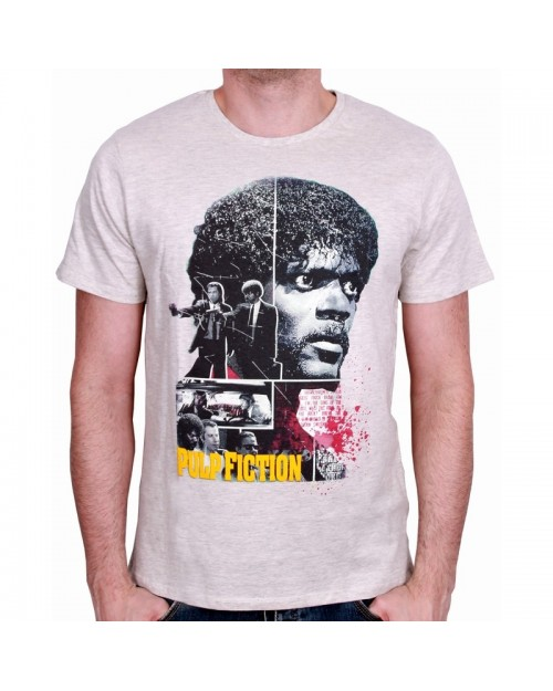 OFFICIAL PULP FICTION - JULES WINNFIELD & VINCENT VEGA COLLAGE CREAM T-SHIRT