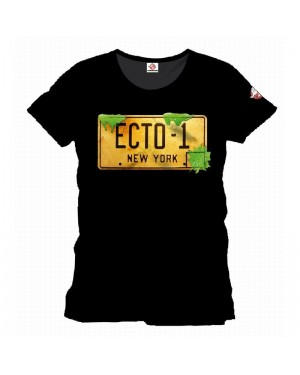 OFFICIAL GHOSTBUSTERS ECTOMOBILE NUMBERPLATE ECTO-1 BLACK T-SHIRT