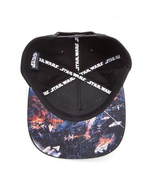 OFFICIAL STAR WARS METAL SYMBOL BLACK SNAPBACK CAP WITH PRINTED VISOR