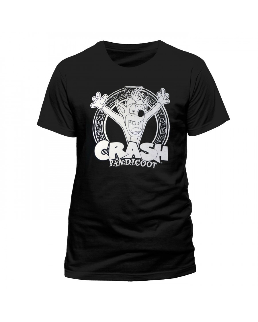 OFFICIAL CRASH BANDICOOT LOGO WHITE PRINT BLACK T-SHIRT