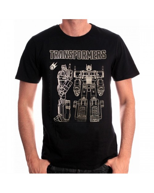 OFFICIAL TRANSFORMERS - OPTIMUS PRIME FRONT & SIDE BLACK T-SHIRT