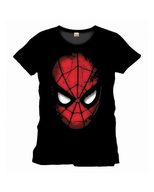 OFFICIAL MARVEL COMICS: SPIDER-MAN MASK BLACK T-SHIRT