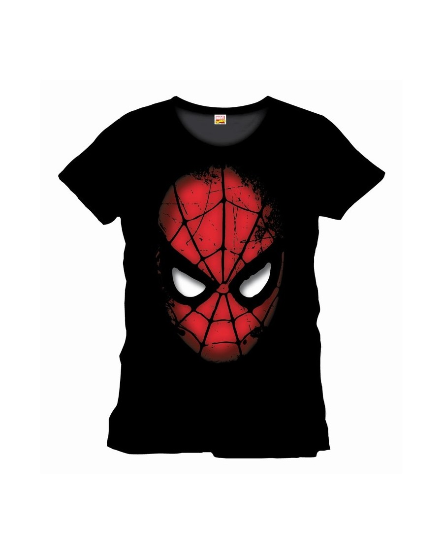 OFFICIAL MARVEL COMICS: SPIDER-MAN MASK BLACK T-SHIRT