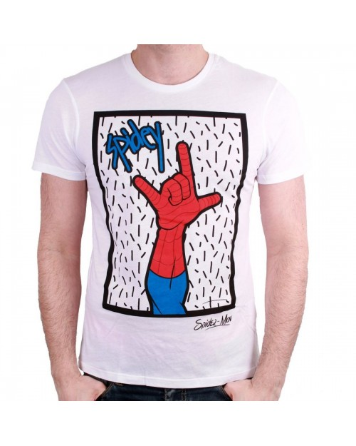 OFFICIAL MARVEL COMICS: SPIDER-MAN - SPIDEY ROCKS WHITE T-SHIRT