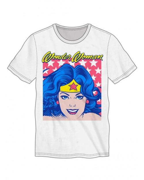 OFFICIAL DC COMICS - WONDER WOMAN RETRO CARTOON WHITE T-SHIRT