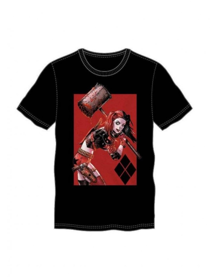 OFFICIAL DC COMICS - HARLEY QUINN HAMMER CARTOON BLACK T-SHIRT