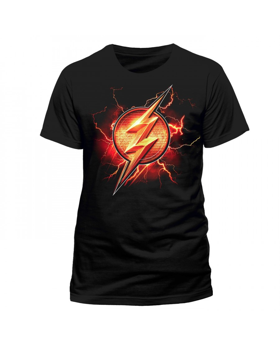 OFFICIAL DC COMICS JUSTICE LEAGUE - THE FLASH SYMBOL BLACK T-SHIRT