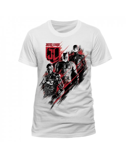 OFFICIAL DC COMICS JUSTICE LEAGUE - BATMAN, CYBORG AND THE FLASH DISTORT PRINT WHITE T-SHIRT