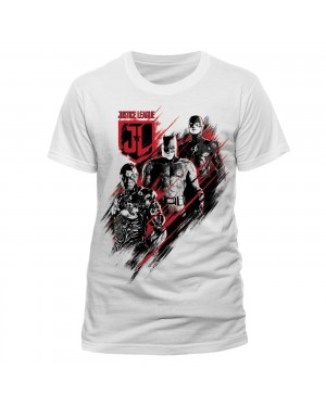 OFFICIAL DC COMICS JUSTICE LEAGUE - BATMAN, CYBORG AND THE FLASH DISTORT PRINT WHITE T-SHIRT