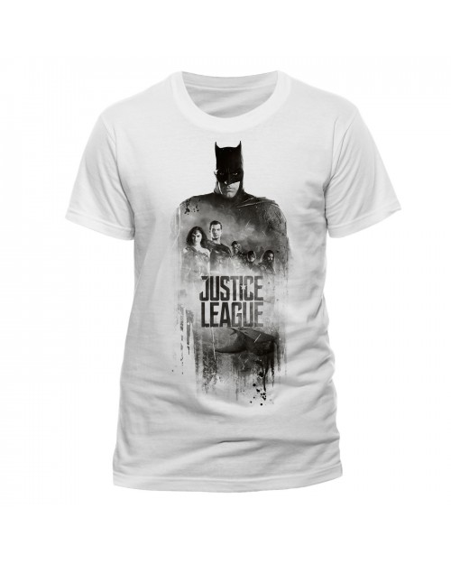 OFFICIAL DC COMICS JUSTICE LEAGUE - BATMAN SILHOUETTE GROUP PRINT WHITE T-SHIRT