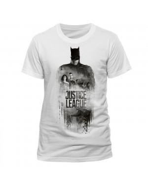 OFFICIAL DC COMICS JUSTICE LEAGUE - BATMAN SILHOUETTE GROUP PRINT WHITE T-SHIRT