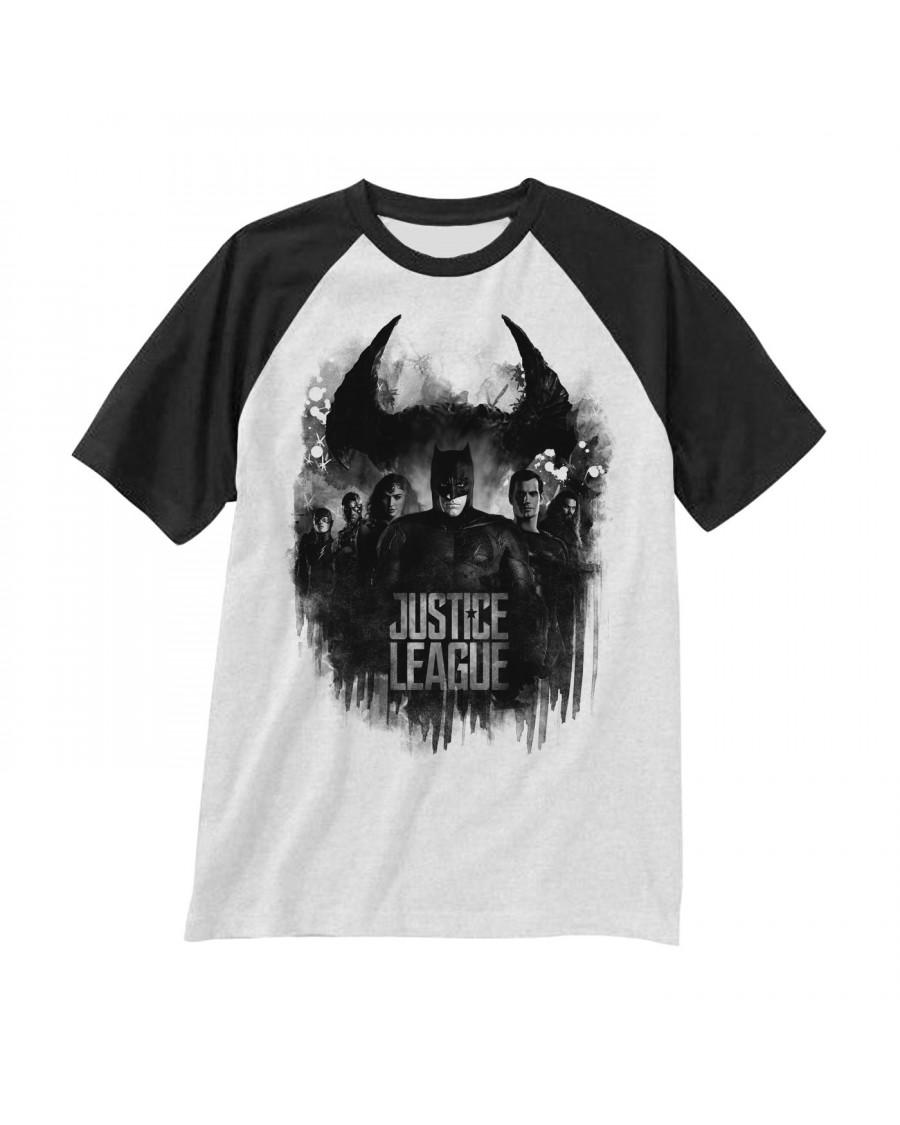 OFFICIAL DC COMICS JUSTICE LEAGUE SYMBOL & GROUP BASEBALL SHIRT T-SHIRT