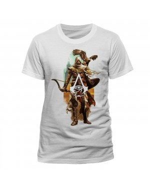 OFFICIAL ASSASSIN'S CREED ORIGINS - CHARACTER & EAGLE WHITE T-SHIRT