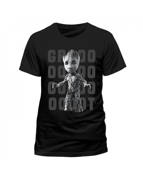 OFFICIAL GUARDIANS OF THE GALAXY 2 - GROOT PHOTO BLACK T-SHIRT
