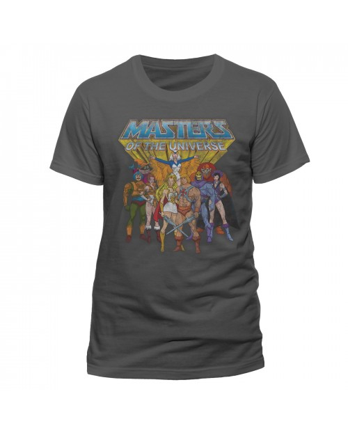 OFFICIAL HE-MAN AND THE MASTERS OF THE UNIVERSE GROUP DISTRESSED PRINT T-SHIRT