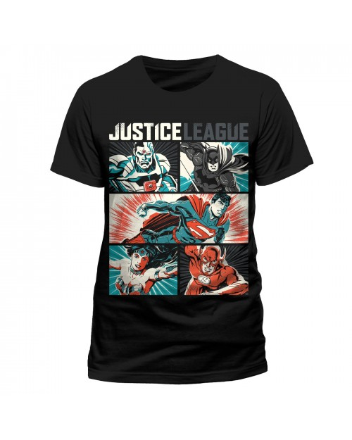OFFICIAL DC COMICS - JUSTICE LEAGUE POP ART CYBORG, BATMAN, SUPERMAN, WONDER WOMAN & THE FLASH BLACK T-SHIRT