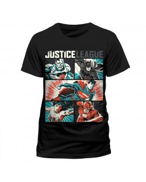 OFFICIAL DC COMICS - JUSTICE LEAGUE POP ART CYBORG, BATMAN, SUPERMAN, WONDER WOMAN & THE FLASH BLACK T-SHIRT