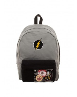OFFICIAL DC COMICS - THE FLASH SYMBOL - PATCH & PIN IT YOURSELF GREY BACKPACK