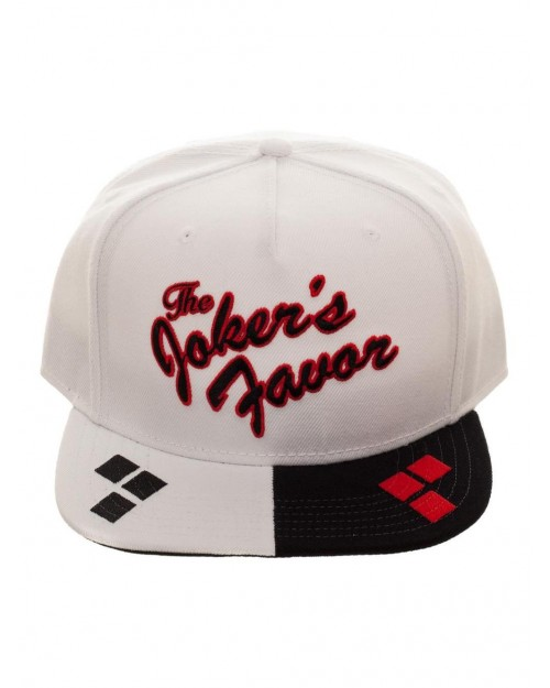 OFFICIAL DC COMICS - THE JOKERS FAVOR HARLEY QUINN STYLED BLACK & WHITE SNAPBACK CAP