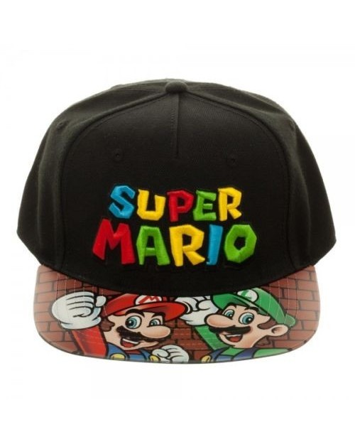 OFFICIAL NINTENDO - SUPER MARIO BRO'S SYMBOL BLACK VELCRO CAP WITH PRINTED VISOR