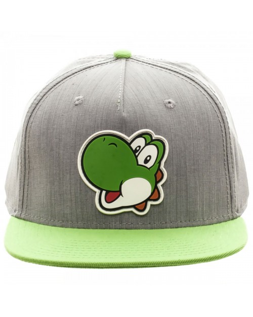 OFFICIAL NINTENDO - SUPER MARIO BRO'S - RUBBER YOSHI PATCH GREY SNAPBACK CAP
